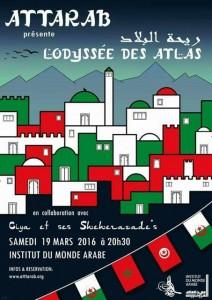 """L'Odyssée des Atlas           """"ريحة البلاد""""    Deux dates pour le prochain spectacle à l'Institut du Monde Arabe"""